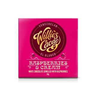Willie's Cacao Raspberries & Cream 36% bílá čokoláda s malinami 50g